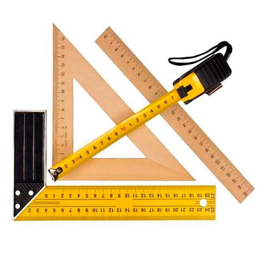 измерительные инструменты — рулетка, линейка, угольник;
